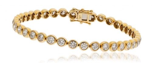 2CT Certified G/VS2 Round Brilliant Cut Rubover Diamond Tennis Bracelet in 9K Yellow Gold