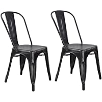 Set of 2 Metal Antique Dining Chairs with Back Industrial Chic (ANTIQUE BLACK)