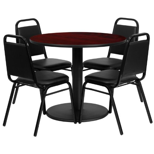 Flash Furniture 36u0027u0027 Round Mahogany Laminate Table Set with 4 Black Trapezoidal Back Banquet Chairs  sc 1 st  Amazon.com & Modern Conference Table: Amazon.com