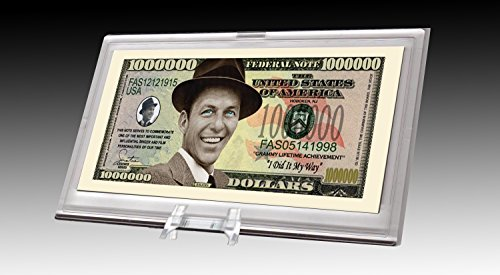 (American Art Classics Frank Sinatra Limited Edition Million Dollar Collectible Bill in Desktop Currency Stand - Best Desk Top Accessory Gift - Old Blue)