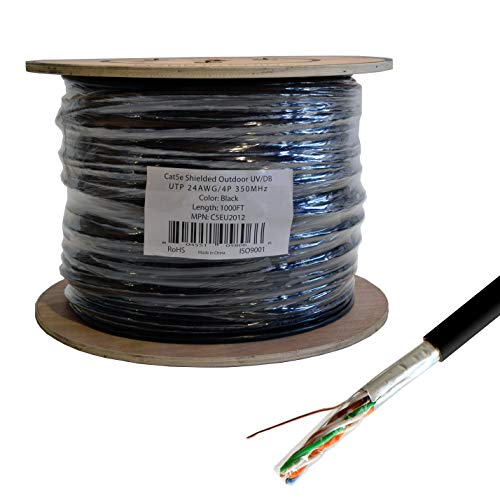 LOGICO Cat5e STP/FTP Outdoor Shielded Ethernet Network UV Direct Burial 1000ft Cable ()