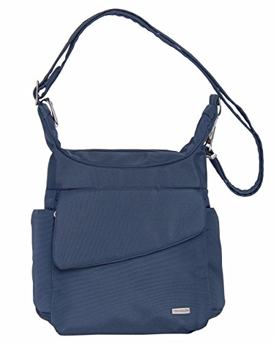Travelon Anti-Theft Messenger Bag (Midnight w/Blue Floral Lining) ()