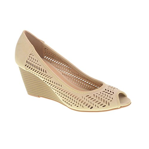 CL by Chinese Laundry Women's Nice Game Wedge Pump Pump, Bone Burnished, 8 M (Peep Wedge Pump)