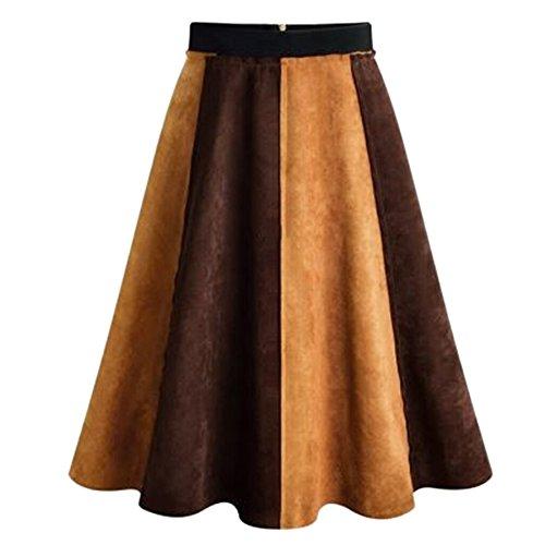 New Elfremore Women Suede High Waist Flared Skirt Pleated A Line Swing Skirt