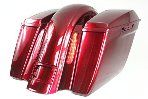 REAR END PACKAGE FOR HARLEY & BAGGERS - EXTENDED SADDLEBAGS, FENDER, AND LIGHTS, LICENSE PLATE FRAME - VELOCITY RED SUNGLO