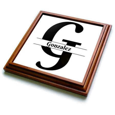 3dRose BrooklynMeme Monograms - Bold Script Monogram G - Gonzalez - 8x8 Trivet with 6x6 ceramic tile (trv_304972_1) ()