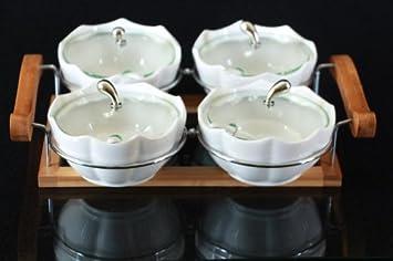 Bambus Snackschalen Set 13-tlg Schalen aus Porzellan Glas Deckel Servierschalen