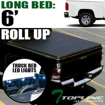 Cab Long Bed Snap (Topline Autopart Lock & Roll Up Soft Vinyl Tonneau Cover & Truck Bed LED Lighting System For 15-18 Chevy Colorado ; GMC Canyon Double ( Extended ) / Crew Cab 6 Feet ( 72