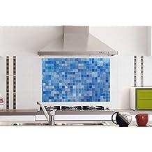 Mosaic Stick Blue 75x45cm Self-adhensive Anti Oil Waterproof Wall Stickers for Bathroom Kitchen