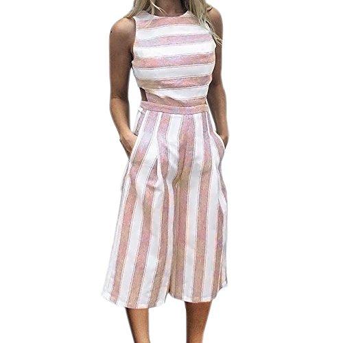 ipe Jumpsuit,Hemlock Summer Wide Leg Pants Jumpers Tops Playsuit Trousers Hemlock (L, Pink) ()