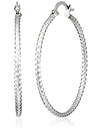Sterling Silver Diamond-Cut Clicktop Hoop Earrings