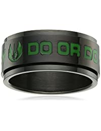 Star Wars Jewelry Yoda Quote Stainless Steel Black-Plated Men's Spinner Ring