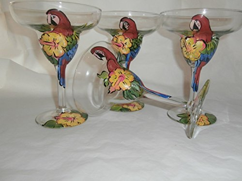 Hand painted red parrot, yellow hibiscus margaritas. Set of 4. 10 ounce margarita glasses. . Made in the usa.