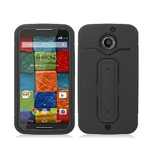 [ Motorola Moto X (2nd.Gen 2014) / X2 / X+1 ] ToPerk (TM) RUGGED Dual Layer Armor Case With U Shape Stand & Stylus Pen As Bundle Sale - Black