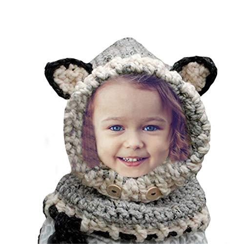 D-Foxes Warm Winter Baby Kids Hat Crochet Knitted Caps Coif Hood Scarves Skull Fox Animal Earflap Beanies Gray