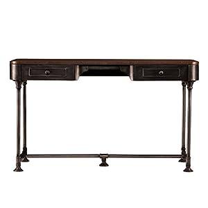 SEI Furniture Edison 2-Drawer Desk, Dark Tobacco with Industrial Gray