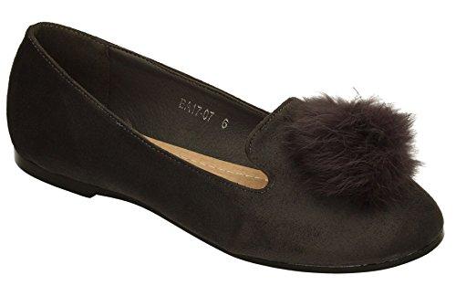 estilo para pelotas de Gris mujeres Zapatos Zapatos SWANKYSWANS Pom para con mujer ballet para negras Brouge Calzado zapatillas de de piel Pom planos Jemima de en gamuza de damas xzqz0wgY