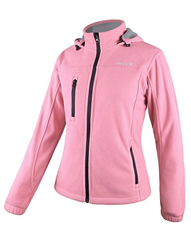 Baleaf Women's Fleece Full Zip Hoodie Jacket Detachable Hood Pink Size XL - Hood Hoody Jacket