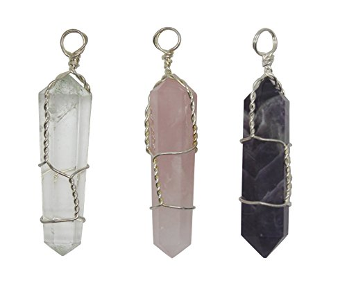 Crystalo - Natural Amethyst + Natural Rose Quartz + Natural Clear Quartz Double Terminated Wire Wrapped Crystal Point Pendant