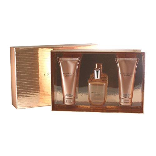 - Unforgivable Woman by Sean John Fragrances 3 Piece Set Includes: 4.2 oz Eau de Parfum Spray + 3.4 oz Bath & Shower Gel + 3.4 oz Body Lotion