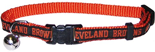 NFL CAT COLLAR. - CLEVELAND BROWNS CAT COLLAR. - Strong & Adjustable FOOTBALL Cat Collars with Metal Jingle Bell
