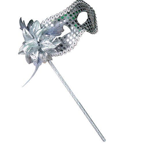[Clearbridal Women's Sexy Silver Masquerade Mask On Stick With Feather CMJ016SL] (Feather Mask With Stick)