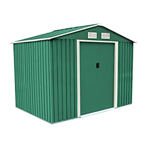 Charles-Bentley-8Ft-X-6Ft-Metal-Garden-Storage-Shed-Zinc-Frame-With-Floor-Foundation-Green