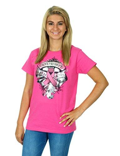 Ladies Striped Drawstring Scrub Pants (Women's Breast Cancer Awareness Pink T-shirt)
