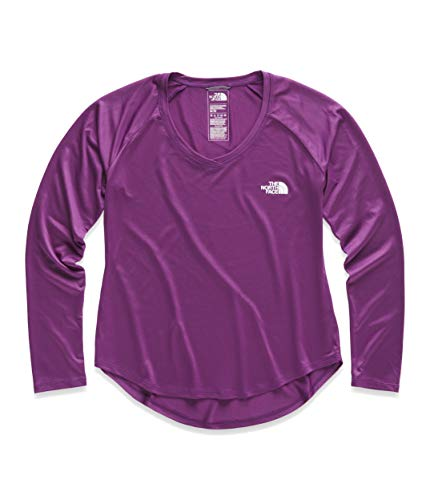 (The North Face Women's Long Sleeve Reaxion Amp Tee, Phlox Purple/TNF White, Size L)