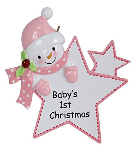 Baby's 1st Christmas Ornament Baby Girl Star Christmas Personalized
