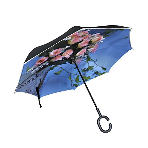 - WBSNDB Double Layer Inverted Rose Bud Pink Handbag Can Display The Vine Ivy Umbrellas Reverse Folding Umbrella Windproof Uv Protection Big Straight Umbrella For Car Rain Outdoor With C-shaped Handle