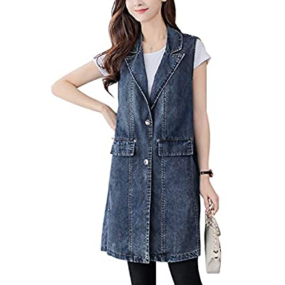 Omoone Women's Button Up Mid Long Ripped Denim Jean Vest Waistcoat at Women's Coats Shop