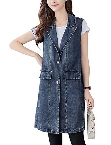 Omoone Women's Stylish Lapel Washed Long Sleeveless Denim Jean Vest Waistcoat