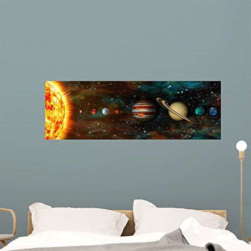 Wallmonkeys Solar System Planets Panoramic Wall Mural Decal Graphic (48 in W x 16 in H) WM368174