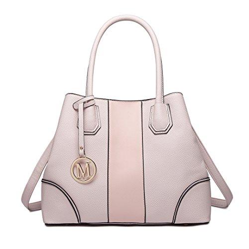 Miss Lulu Leather Look V-Shape Shoulder Handbag Elegant Design Top Handle  Fashion Handbags for Women (1822 pink) 0dc075794c692