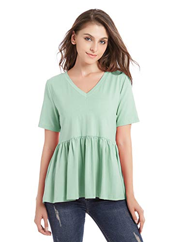 ZURIFFE Women's Summer V Neck Short Sleeve Cotton Loose T Shirts Ruffle Babydoll Peplum Swing Top Tees (M, Mint Green)