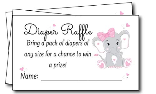 Pink Elephant Diaper Raffle Tickets (50 Count)- Bring Diaper Raffle Cards for Girl Baby Shower Game Insert Cards for Baby Shower Invitations Supplies -