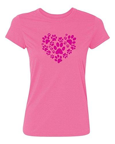 P&B Cats and Dogs Paw Heart Women's T-Shirt, M, Azalea Pink (Apparel Azalea)