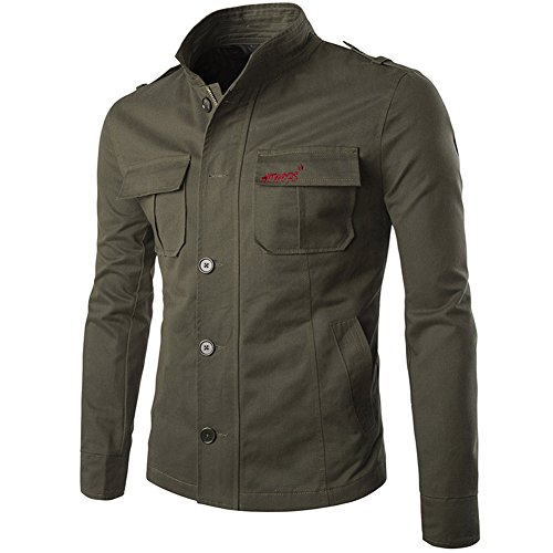 casual ligera para larga ajustado entallado Chaqueta cuello con botones y con de Verde manga hombre cremallera estilo algodón UwzCq