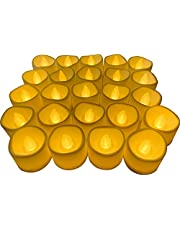 Monkey Noodle 24 PCS Battery Powered Flameless LED Tea Light Candles, Flameless Votive Wave Open Candles, Flameless Fake Candles in Warm Yellow Perfect for Halloween Christmas Wedding Party Decorations