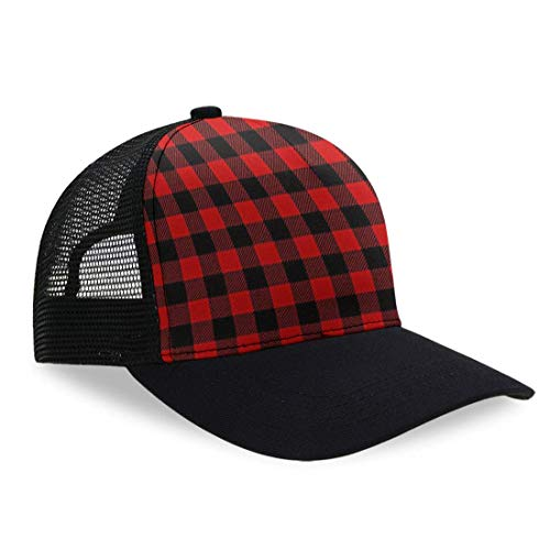 Red Buffalo Plaid Dad Baseball Cap Unisex Adult Dad Hat Trucker Hat Adjustable Snap Slouch Hat, Breathable Moisture Wicking Ball Cap Casual Snapback Hat Running Cap