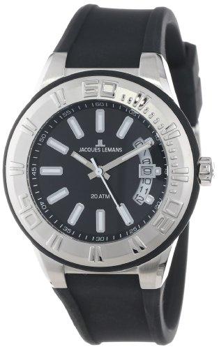 Jacques Lemans Men's 1-1785A Miami Sport Analog Black Silicone Strap Watch