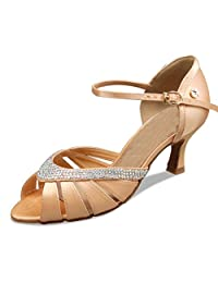 Minitoo TH004 Women's Cut-out Fashion Satin Latin Salsa Ballroom Dance Shoes