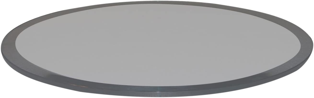 Fab Glass and Mirror Round Grey Glass Table Top, 30