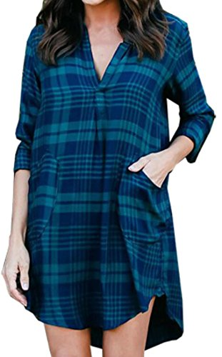 Jaycargogo À Carreaux Femmes Impression Chemises Cocktail Évasés Coupe Slim V Cou Robe Verte