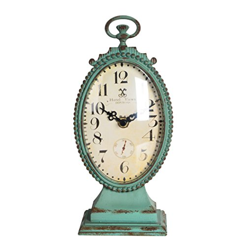 NIKKY HOME Shabby Chic Pewter Round Table Clock Distressed Style, Green ()