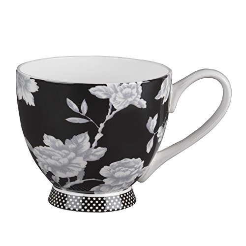 (Portobello CM03398 Footed Regency Fine Bone China Mug- Black by Portobello)