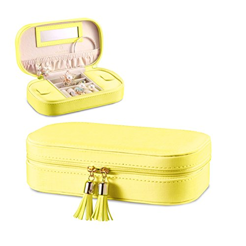 Vlando Small Travel Tassel Jewelry Box Organizer - Woman Girls Faux Leather Handbags (Leather Travel Jewelry)