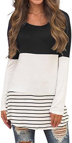 Sherosa playera túnica de mangas largas, informal, con aplique de encaje, color ladrillo, para mujer