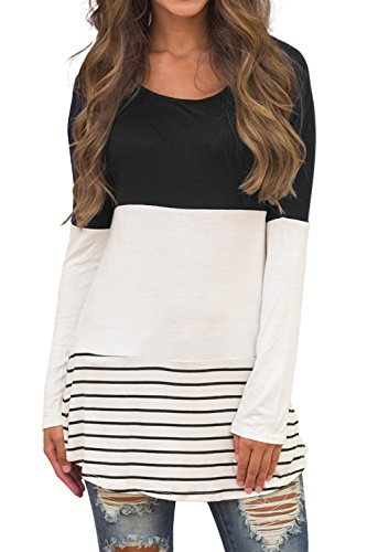 Sherosa Women's Striped Long Sleeve Loose Fit T-Shirt Blouse Casual Tops (Black,M) (Tunic Womens Top)